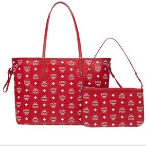❤️New MCM Liz Reversible Shopper Red Tote Bag